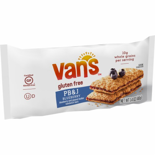 Van's Gluten Free PB&J Blueberry and Peanut Butter Sandwich Bars 5 Count Perspective: top