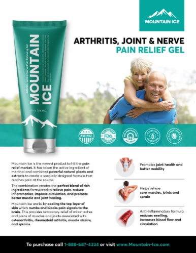 Mountain Ice Arthritis, Joint & Nerve Pain Relief Gel With Natural Ingredients, Tube Perspective: top