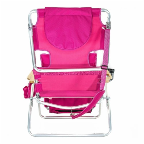 Ostrich Deluxe Padded 3-N-1 Outdoor Lounge Reclining Beach Lake Chair, Pink Perspective: top