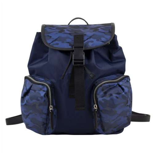 Bodhi Microfiber Fashion Drawstring Flap Backpack - Navy Camo Perspective: top