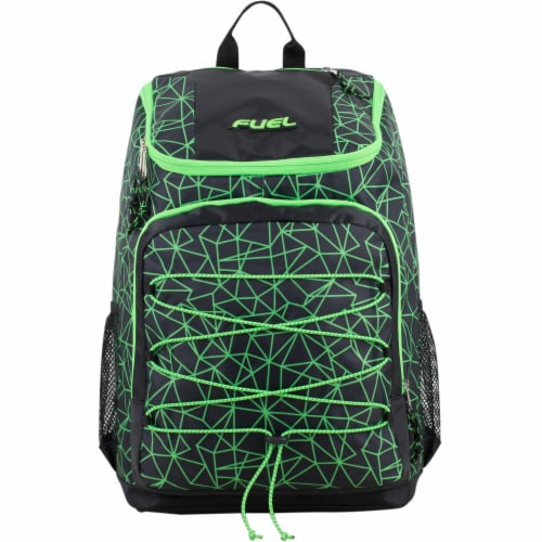 Fuel Wide Mouth Bungee Backpack - Black/Lime Perspective: top