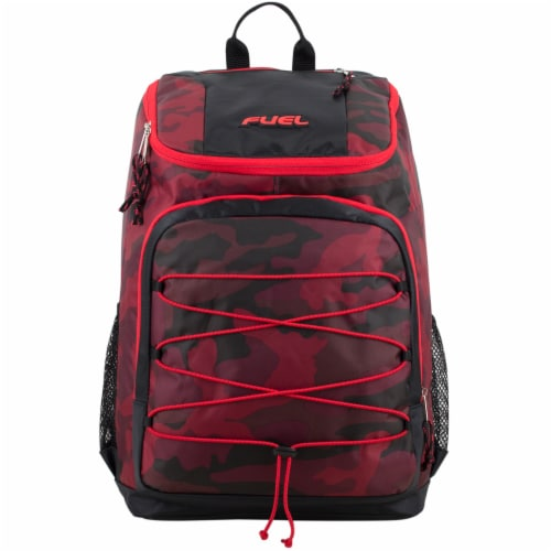 Fuel Wide Mouth Bungee Backpack - Red Camo Perspective: top