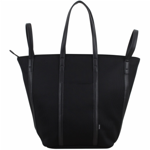 Bodhi Large Waffle Mesh Fashion Tote - Black Perspective: top
