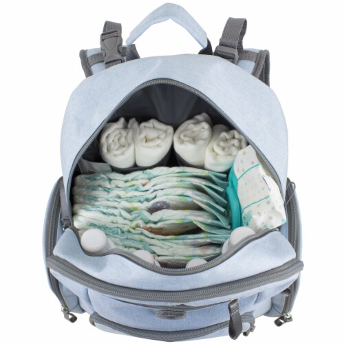 Bodhi Baby Bond Street Diaper Backpack - Light Blue Chambray Perspective: top