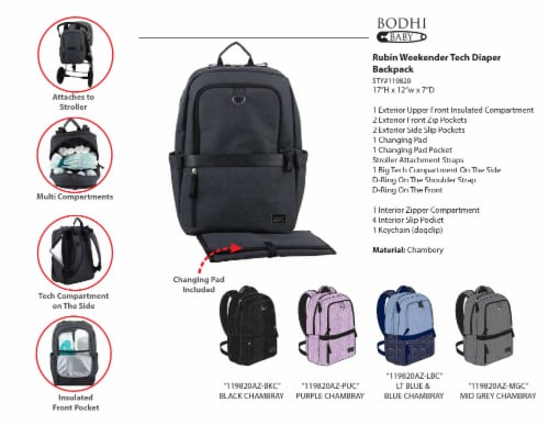 Bodhi Baby Rubin Weekender Tech Diaper Backpack - Purple Chambray Perspective: top