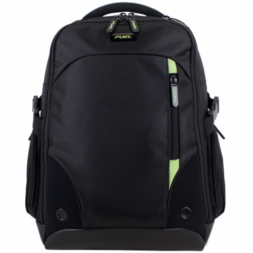 Fuel Sentry TSA Friendly Tech Backpack - Black with Celery Trim Perspective: top