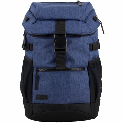 Fuel Barrier Top-Loading Backpack w/ Insulated Zip-Cooler Flap Pocket - Blue Perspective: top