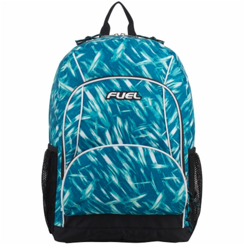 Fuel Triple Decker Backpack - Brush Stroke Aqua/White Perspective: top