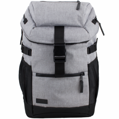 Fuel Barrier Top-Loading Backpack w/ Insulated Zip-Cooler Flap Pocket - Light Grey Chambray Perspective: top