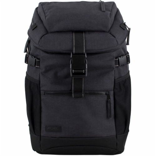 Fuel Barrier Top-Loading Backpack w/ Insulated Zip-Cooler Flap Pocket - Black Perspective: top