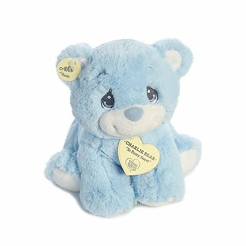 "Aurora World Precious Moments Charlie Bear With Rattle So Beary Sweet Plush, Blue, 8.5"" Perspective: top"