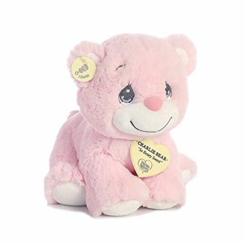 "Aurora World Precious Moments Charlie Bear With Rattle So Beary Sweet Plush, Pink, 8.5"" Perspective: top"