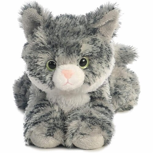 """Aurora World 8"""" Mini Flopsie Plush Lily the Gray Tabby Perspective: top"""