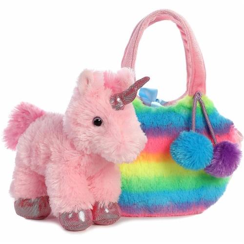 Aurora World Fancy Pals Pet Unicorn Carrier Plush, Rainbow Perspective: top