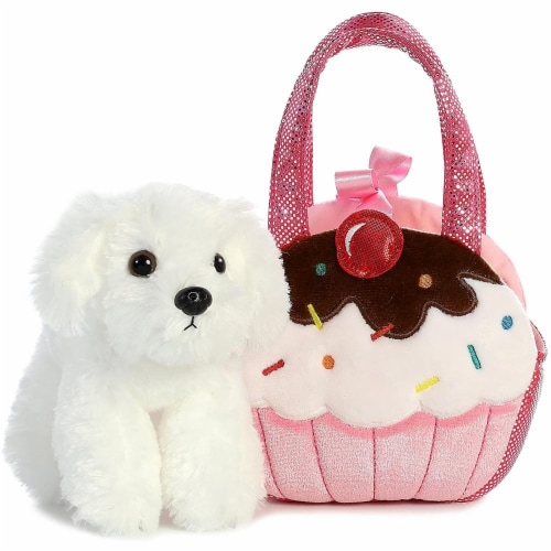 Aurora World Fancy Pals Pet Carrier Sweets Cupcake & Puppy Plush Perspective: top