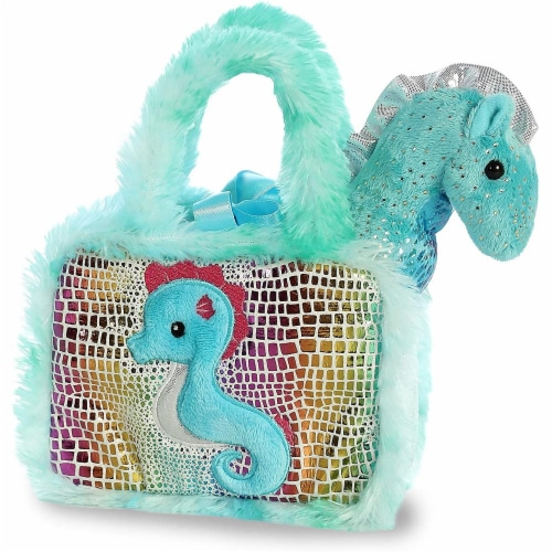 Aurora World Pet Carrier Plush Toy Animal, Fancy Pals Seahorse Perspective: top