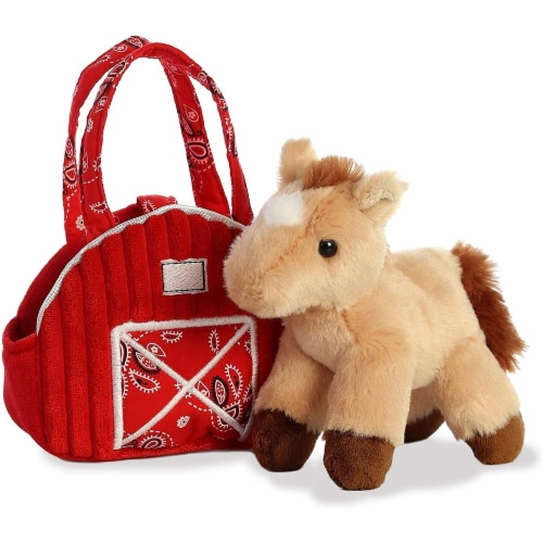 """Aurora 7"""" Red Barn Pet Carrier Plush Toy,  Fancy Pals Horse Perspective: top"""