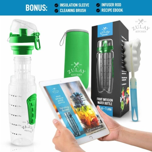 Water Bottle, Fruit Infuser - [34 oz] Lime Green Perspective: top