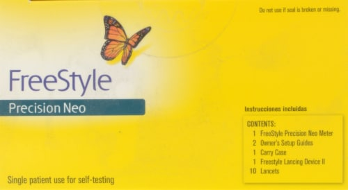 FreeStyle Precision Neo Blood Glucose Meter Kit Perspective: top