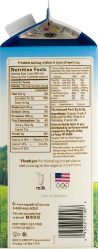 Organic Valley 2% Reduced Fat Milk Perspective: top