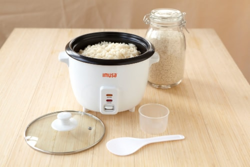 IMUSA Electric Nonstick Rice Cooker - White Perspective: top
