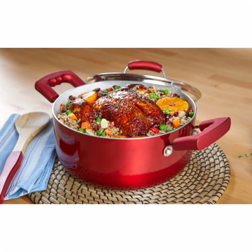IMUSA Dutch Oven with Glass Lid - Ruby Red Perspective: top