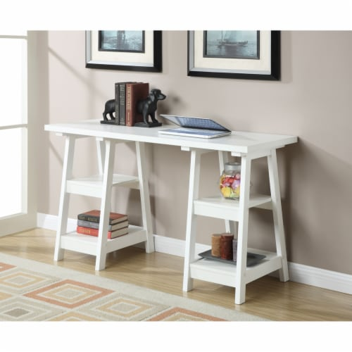 Convenience Concepts Designs2Go Double Trestle Desk in White Wood Finish Perspective: top