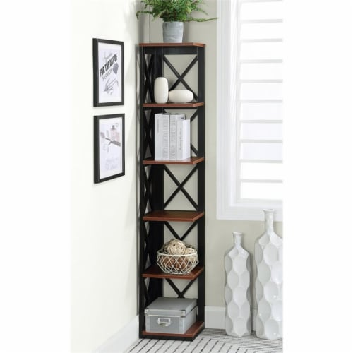 Convenience Concepts Oxford Five-Tier Corner Bookcase in Cherry and Black Wood Perspective: top
