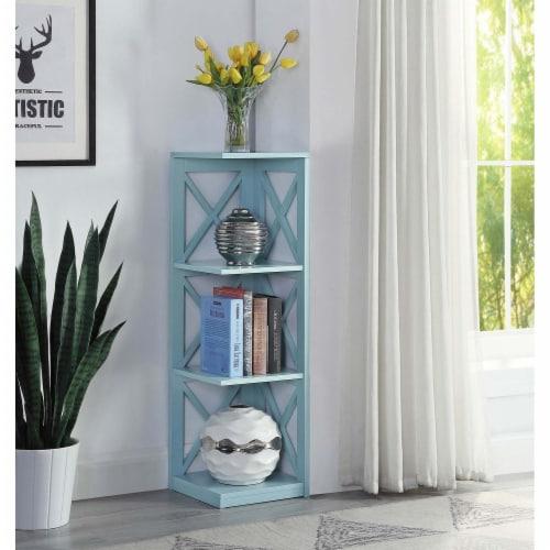 Convenience Concepts Oxford Three-Tier Corner Bookcase in Sea Foam Wood Finish Perspective: top