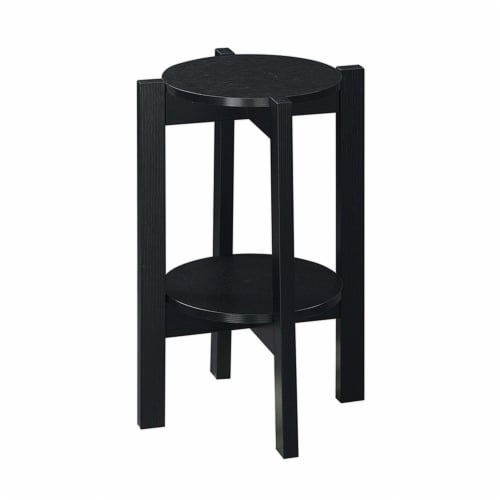 Convenience Concepts Newport Medium Plant Stand in Black Wood Finish Perspective: top