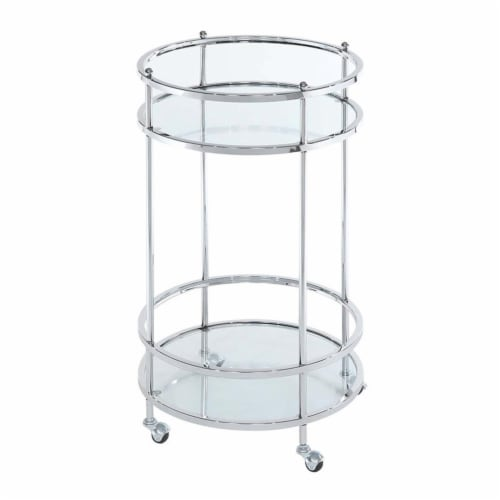 Royal Crest Bar Cart With Wheels in Clear Glass and Chrome Metal Frame Perspective: top