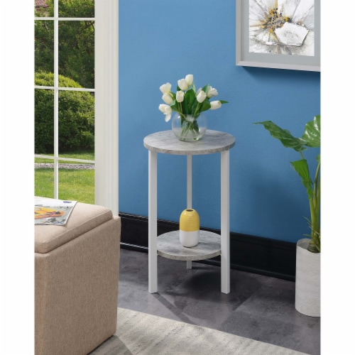 Convenience Concepts Graystone 24  Plant Stand in Gray Faux Marble Wood Finish Perspective: top