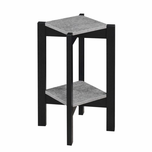 Convenience Concepts Planters & Potts Medium Square Plant Stand in Gray Wood Perspective: top