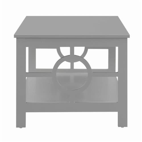 Convenience Concepts Ring Coffee Table in Gray Wood Finish with Lower Shelf Perspective: top