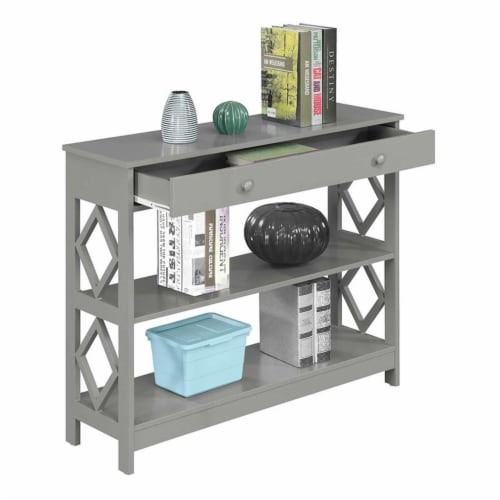 Convenience Concepts Diamond One-Drawer Console Table in Gray Wood Finish Perspective: top