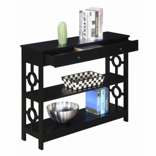 Convenience Concepts Ring 1 Drawer Console Table in Black Wood Finish Perspective: top