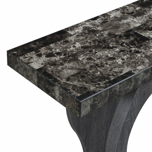 Newport Terry B Console Table in Weathered Gray and Faux Black Marble Wood Perspective: top