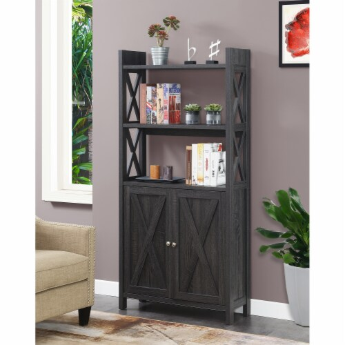Convenience Concepts Oxford Bookcase with Cabinet in Weathered Gray Wood Finish Perspective: top