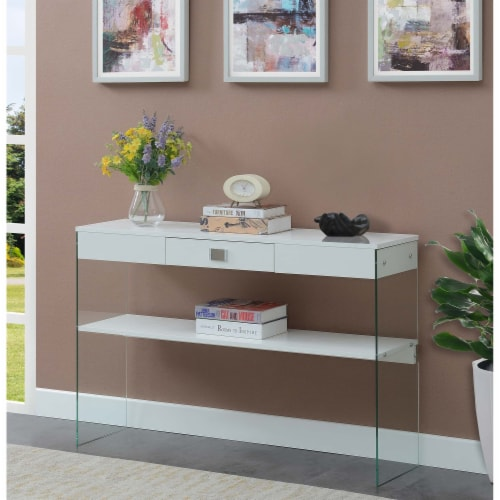 SoHo One-Drawer Console Table in Clear Glass with White Wood Top Perspective: top