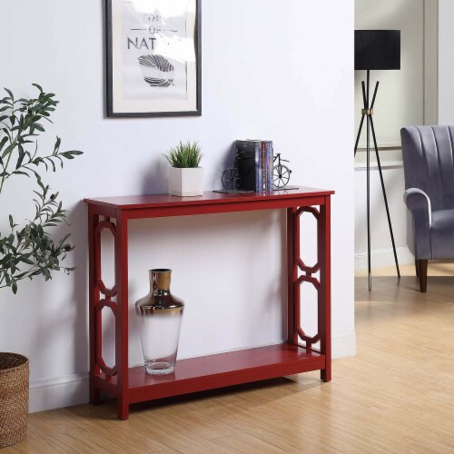 Convenience Concepts Omega Console Table in Cranberry Red Wood Finish Perspective: top