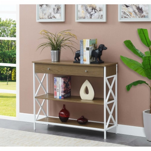 Tucson One-Drawer Console Table in Caramel Wood with White Metal Frame Perspective: top