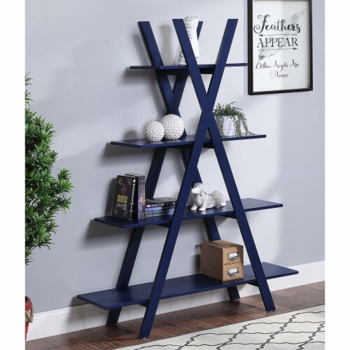 Convenience Concepts Oxford A-Frame Bookshelf in Cobalt Blue Wood Finish Perspective: top