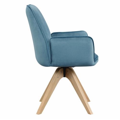Convenience Concepts Miranda Swivel Accent Chair in Blue Velvet/Natural Wood Perspective: top