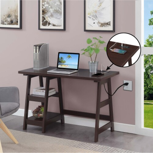 Designs2Go Trestle Desk with Charging Station in Espresso Wood Finish Perspective: top