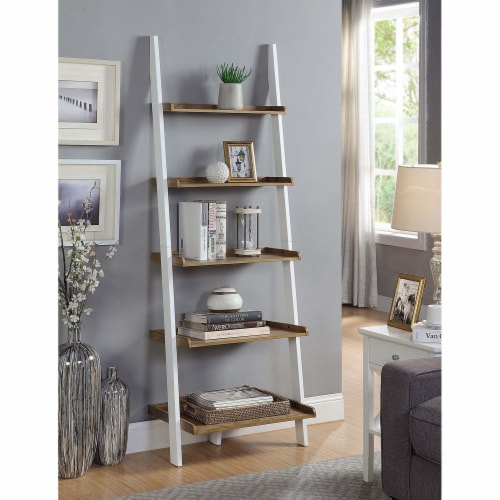 American Heritage Bookshelf Ladder with Five Tiers in Caramel Wood Finish Perspective: top