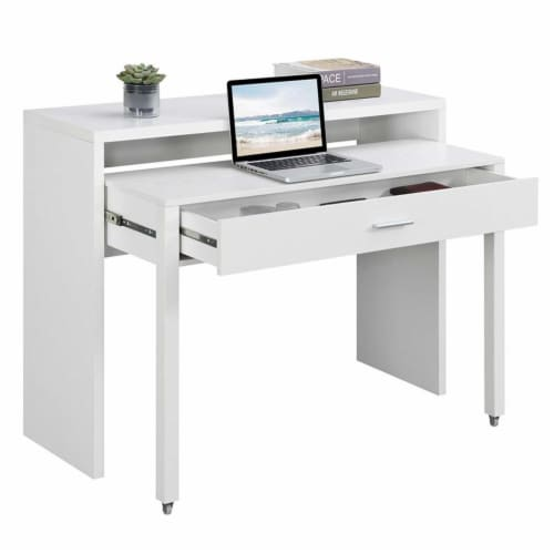 Newport JB Console/Sliding Desk with Drawer and Riser in White Wood Finish Perspective: top