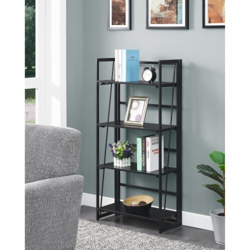 Convenience Concepts Xtra Folding Four-Tier Bookshelf in Black Wood Finish Perspective: top