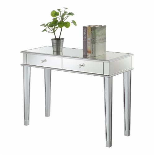 Gold Coast Deluxe Two-Drawer Desk/Console Table in Mirrored Glass Finish Perspective: top