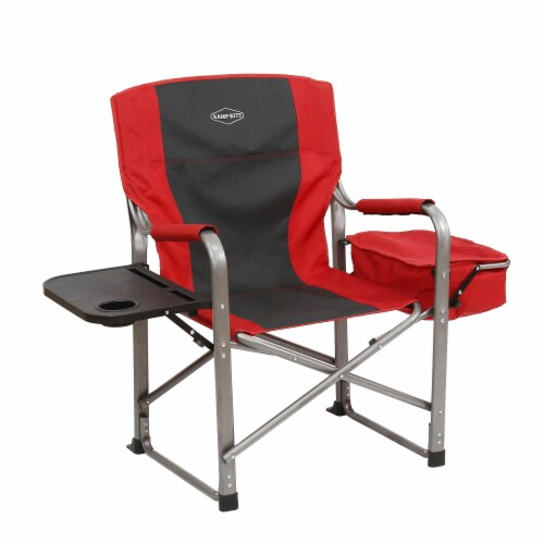 Kamp-Rite Outdoor Camp Folding Director's Chair with Side Table & Cooler, Red Perspective: top