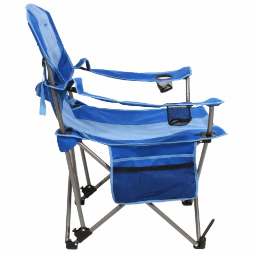 Kamp-Rite Outdoor Camping Beach Patio Folding Chair w/ Detachable Footrest, Blue Perspective: top
